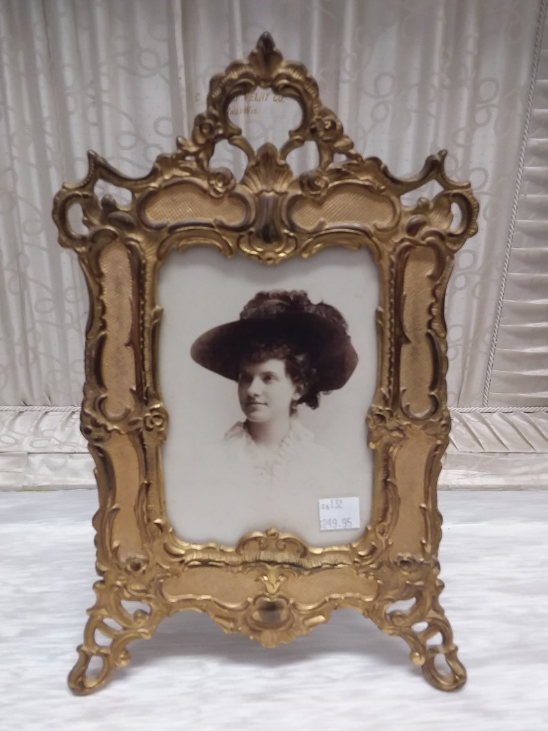 Victorian Brass Plated Cast Iron Picture Frame Ca  1900
