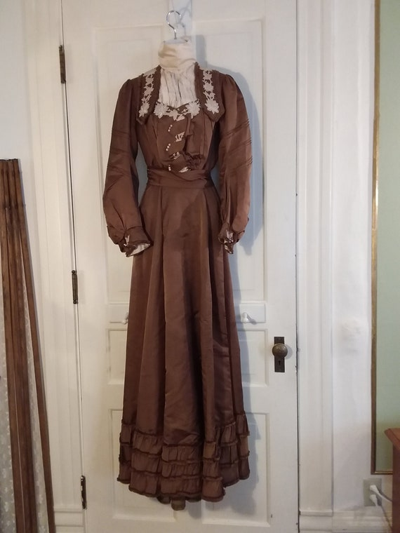 Victorian 2 Piece Brown Silk Dress Waist and Bustl