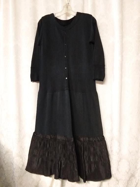 Ca 1940's  Full Slip Thermal Petticoat Black Cotto