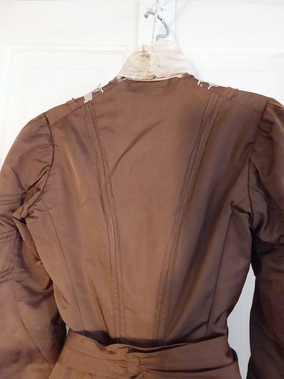 Victorian 2 Piece Brown Silk Dress Waist and Bust… - image 8