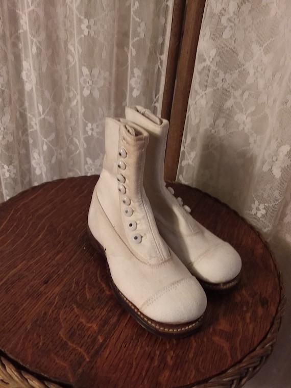 White Canvas Button Children's Shoes Ca 1900's NOS