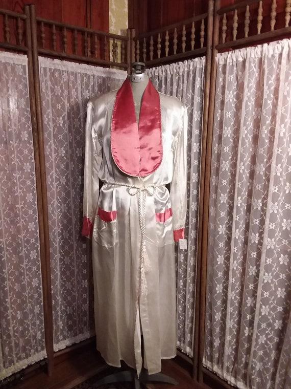 Ca. 1960's Cream Satin Robe