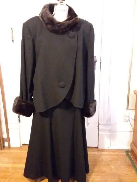 Ca. 1970's Black Wool Crepe Suit by Andrea Simone