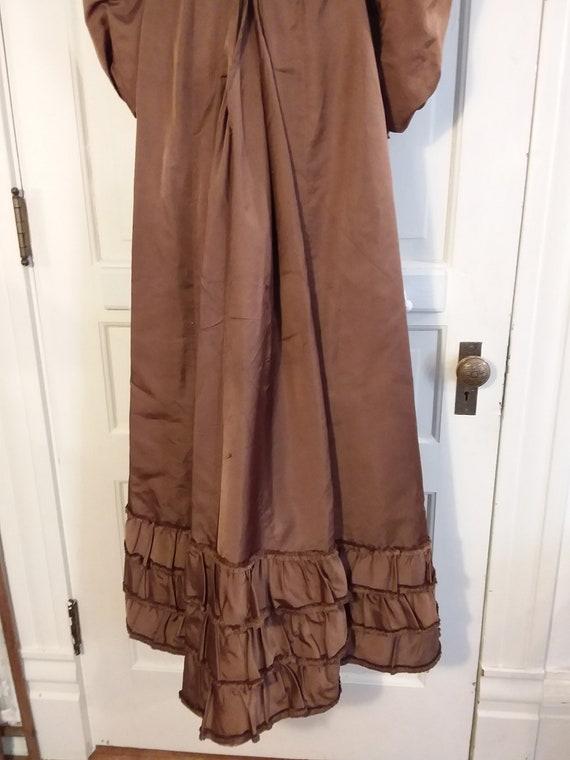 Victorian 2 Piece Brown Silk Dress Waist and Bust… - image 9