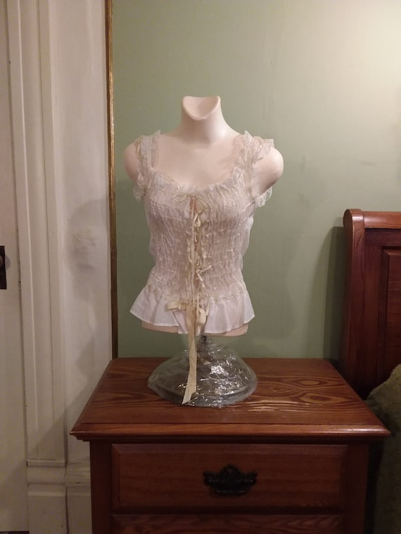 Ca. 1910 Corset Cover Camisole Lace and Ribbon