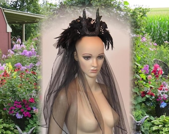 BLACK ANTLER HEADDRESS Black Rose Veil Gothic Bridal Veil