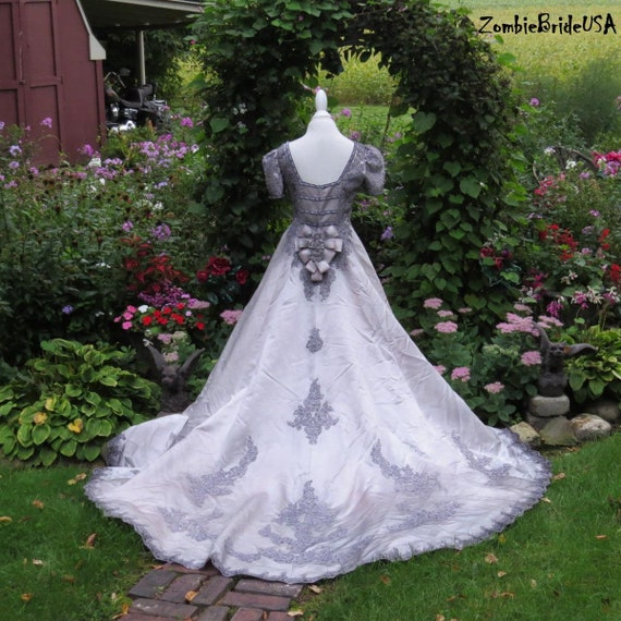 GOTHIC Bridal Gown, very light gray with Black, Halloween Bride, Plus Size  Bride, Size 16, Gothic Wedding dress, Goth Bride