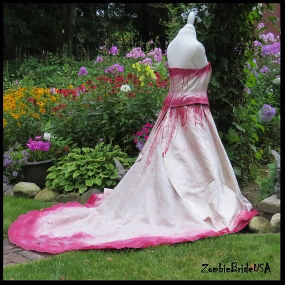 Plus Size Bloody Zombie Wedding Dress Bride Of Frankenstein Etsy