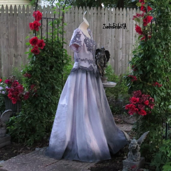 GOTHIC BRIDAL GOWN, very light gray with Black, Halloween Bride, Plus Size  Bride, Plus Size Halloween wedding dress, Size 22