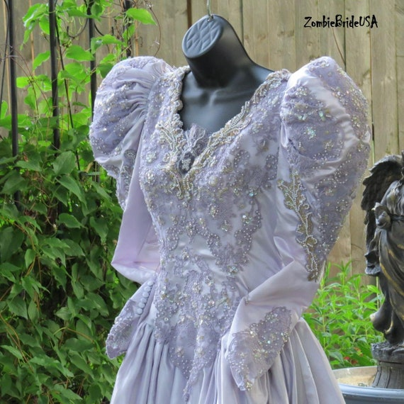 Victorian Goth Bridal Gown, Halloween Bride, Silver Gray, Embroidered Lace Sequins Beads Pearls, Size 6