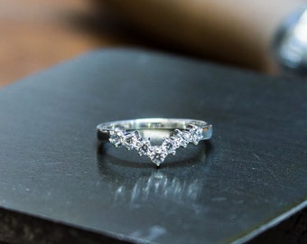 7 Stone Silver and CZ Wishbone Ring