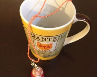 Necklace orange with apricot Strawberry cupcake.