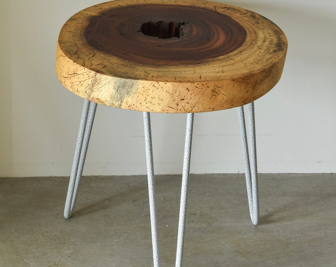 Live edge side table of Salvaged Tropical Hardwood, live edge accent table, End table, Wood end table, side table,Parota side table