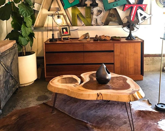 Live Edge Coffee table, Parota Guanacaste, Tropical Hardwood, Natural edge coffee table, Hairpin  legs table, Imported Hardwood