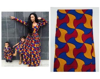 f685d4502c Blue, Yellow & Red African Fabric; Ankara Fabric; African Clothing; African  Print; African Headwrap;Ankara Fabric in yards; African Fabric