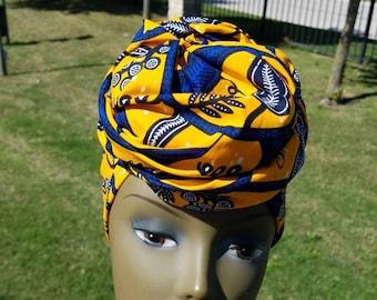 Yellow and Blue Headwrap; African Headwrap; African Fabric; Headwrap; African Scarf; Ankara Headwrap; Headtie; Headband, Turban