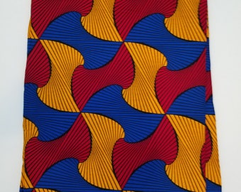 Blue, Yellow & Red African Fabric; Ankara Fabric; African Clothing; African Print; African Headwrap;Ankara Fabric in yards; African Fabric