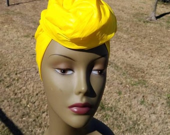 Solid Yellow Headwrap; African Headwrap; African Fabric; Headwrap; African Scarf; Headtie; Headband, Turban