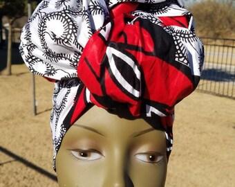 White, Black And Red Ankara Headwrap; African Clothing; African Fabric; Headwrap; African Scarf; Ankara Headwrap; Headtie; Headband, Turban