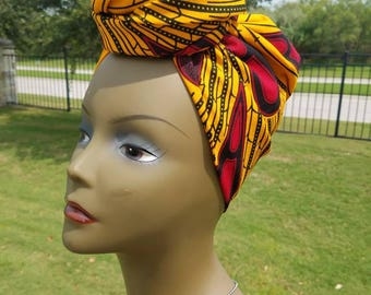 Yellow and Red African Fabric Headwrap; African Scarf; African headtie; African wrap; Headwrap