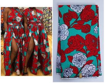Green And Red African Fabric; African Clothing; African Fabric; African Fabric in yard; African Headwrap;Ankara Fabric: Ankara