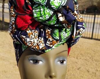 Multicolor Headwrap; African Headwrap; African Clothing; African Fabric; Headwrap; African Scarf; Ankara Headwrap; Headtie; Headband, Turban