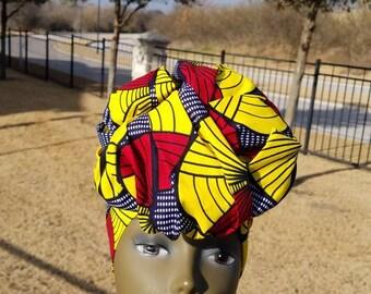 Yellow, Red And Black  Multicolor Headwrap; African Fabric Headwrap Headwrap; African Scarf; Ankara Headwrap; Headtie; Headband, Turban