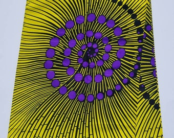 Yellow and Purple African Fabric; Ankara Fabric; African Clothing; African Print; African Headwrap;Ankara Fabric in yards; African Fabric