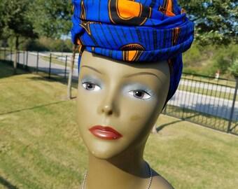 Blue and Orange Rainburst Head wrap; Blue African Headwrap; African Clothing; African Fabric Headwrap; African Scarf;  Headwrap; Head tie