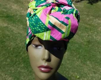 Pink And Green African Fabric Headwrap; African Headwrap; African Fabric; Headwrap; African Scarf; Ankara Headwrap; Headtie; Headband,Turban