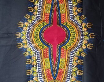 Black And Red Dashiki Ankara Fabric; African Clothing; African Fabric in yard; African Headwrap;Ankara Fabric in yards;African Fabric