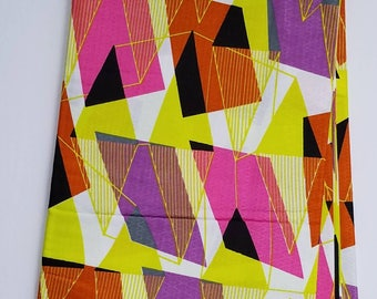 Pink & Yellow Ankara Fabric; African Clothing; African Fabric in yard; African Headwrap;Ankara Fabric in yards;Pink fabric
