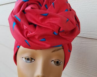 Coral & Blue Head wrap; African Headwrap; African Clothing; African Fabric Headwrap; African Scarf; Fabric Headwrap: Headwrap; Head tie