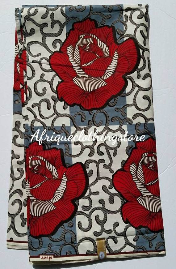 Off White And Red African Fabric Ankara Fabric African Etsy