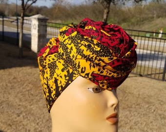 Red And Yellow Headwrap; African Headwrap; African Fabric; Headwrap; African Scarf; Ankara Headwrap; Headtie; Headband, Turban