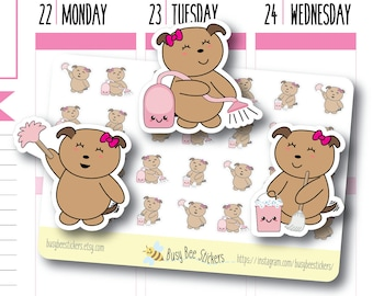 Cleaning Planner Stickers, Cleaning Stickers, Chore Stickers, Household, Vacuum, Mop, Dust, Happy Planner Stickers, Erin Condren Stickers