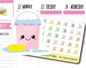 Bucket and Sponge Planner Stickers, Cleaning Stickers, Chore Stickers, Household, Kawaii, Happy Planner Stickers, Erin Condren Stickers