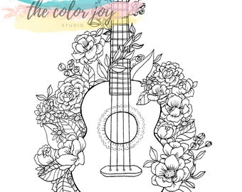 Image result for coloring page of a ukulele | Coloring pages ... | 270x340