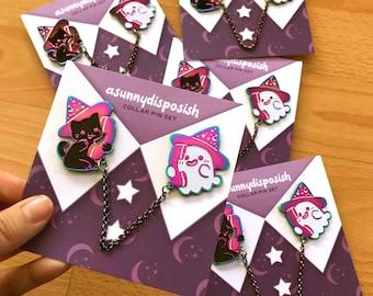 Ghost & Cat Collar Pin Set