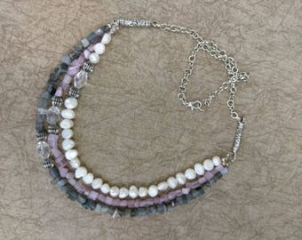 Freshwater Pearl Necklace with Grey and Lavender Cats-eye Chips
