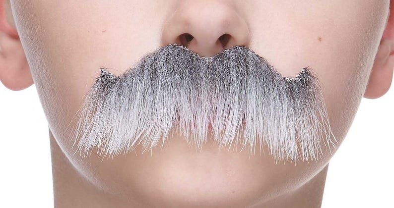 High quality Rocking grandpa/'s gray with white fake self adhesive mustache