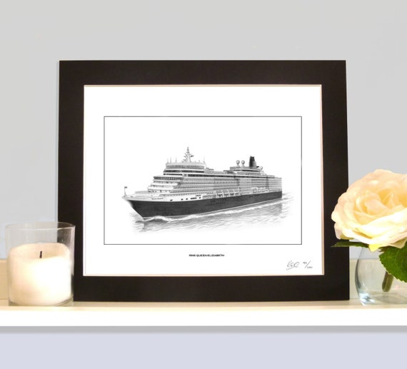Art Maritime Queen Elizabeth Print A4 Limited Edition
