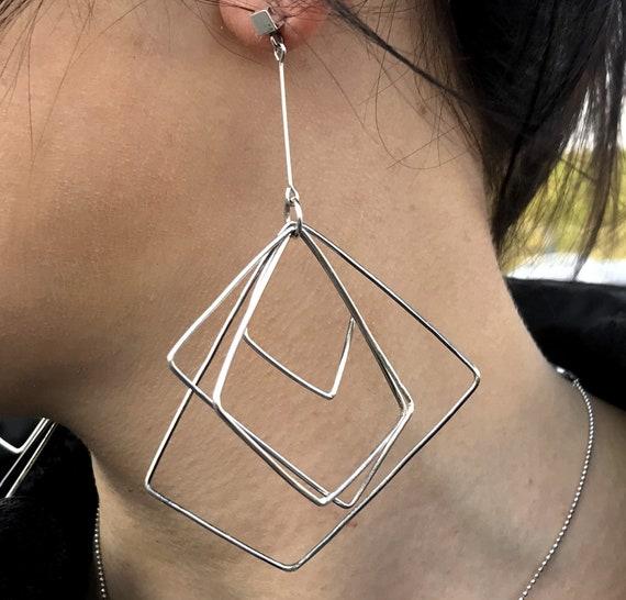 Drop earrings Asymmetrical Earrings Large Statement Earrings Dangle Earrings Avant-garde Sterling Silver Designer Earrings