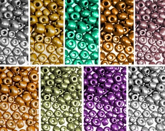 50g beads glass Beads 6/0 4 mm metallic, color selectable (colour: Dark Copper)