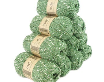 10 x 50g recycled yarn Indy, color 083 Green-White