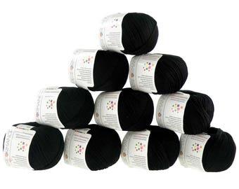 10 x 50g knitted yarn cotton glamorous, #01 black