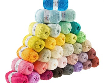 5 x 100g knitted yarn/knitted wool CILKA by VLNIKA, free choice of colours (colour: dark Lilac)