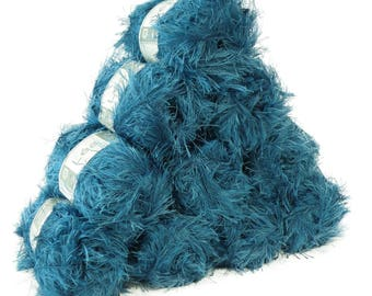 10 x 50g effect yarn lea with fringes, #028 Blue