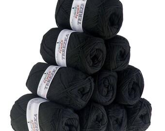 10 x 50g knitted yarn TEREZKA 100% cotton, #106 black