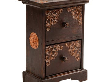 Drawer cabinet, bedside table, jewellery cabinet, height 40cm, brown o. White (colour: dark brown)